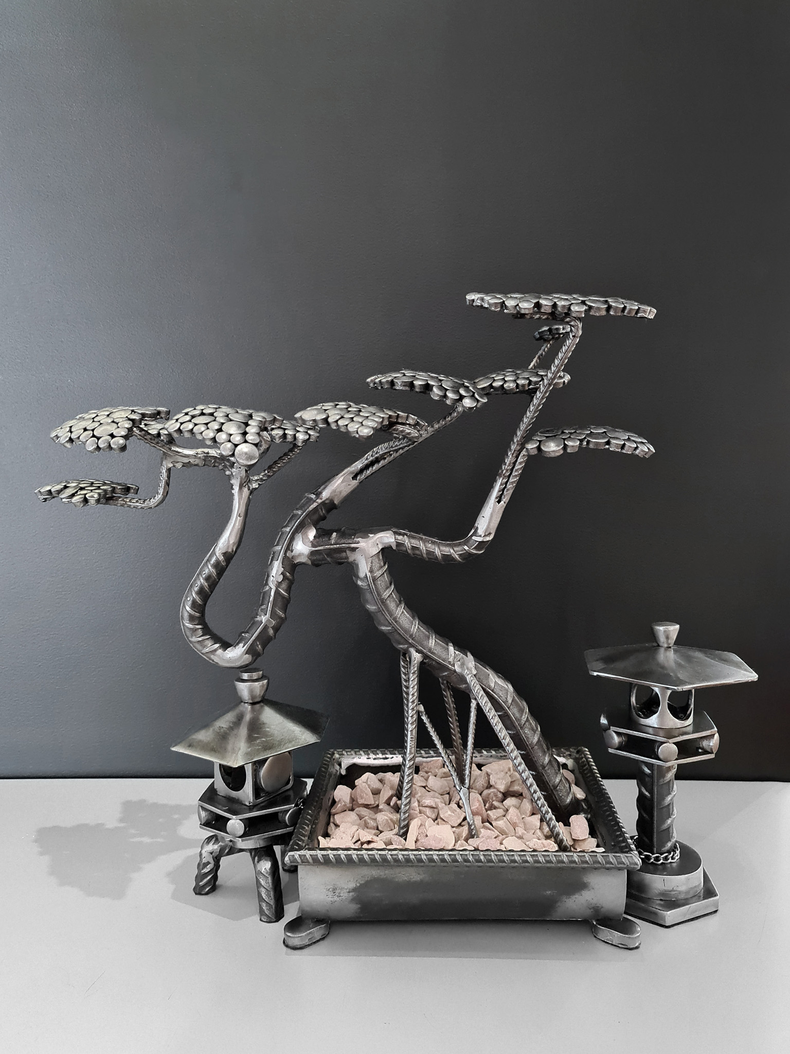 Steel Bonsai and Yukimi Lantern by Kevin Singer